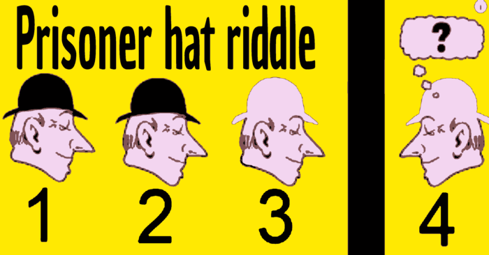 hat riddle, hat riddle answer, prisoners hat riddle, prisoner hat riddle , the prisoner hat riddle, prisoner hat riddle answer, the prisoner hat riddle, the prisoner hat riddle answer, prisoner riddle black white hat, 4 hat riddle,4 hats riddle answer ,4 prisoners riddle,4 prisoner hat riddle, 4 prisoner hat riddle answer, google hat riddle, google prisoner hat riddle, google prisoner riddle, answer to the prisoner hat riddle, answer to prisoner hat riddle, what is the answer to the prisoner ,hat riddle ,four prisoners riddle