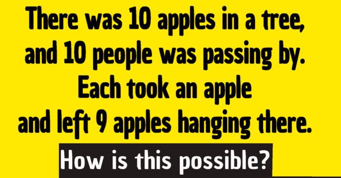 10 apples hanging high riddle answer