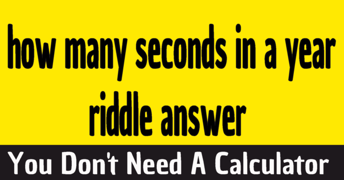 how many seconds in a year riddle answer - How many seconds make a leap year riddle answer