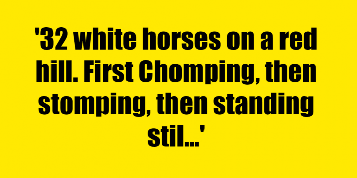 32 white horses on a red hill. First Chomping, then stomping, then standing still. What am I? - Riddle Answer