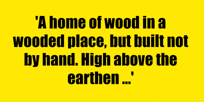 A home of wood in a wooded place, but built not by hand. High above the earthen ground, it holds its pale blue gems. What is it? - Riddle Answer