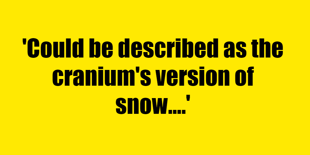 Could be described as the cranium's version of snow. - Riddle Answer
