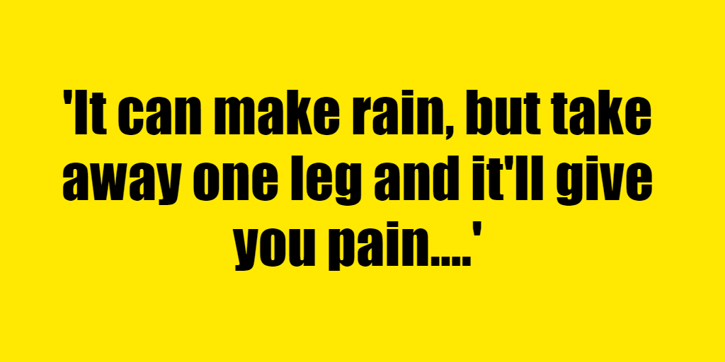 It can make rain, but take away one leg and it'll give you pain. - Riddle Answer