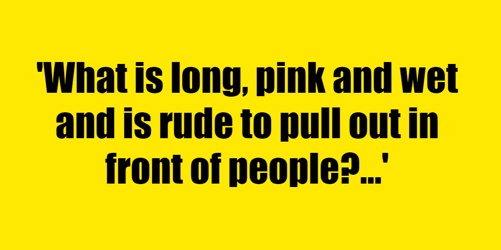 What is long, pink and wet and is rude to pull out in front of people? - Riddle Answer