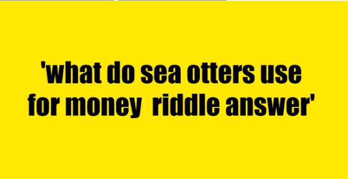 what do sea otters use for money riddle answer