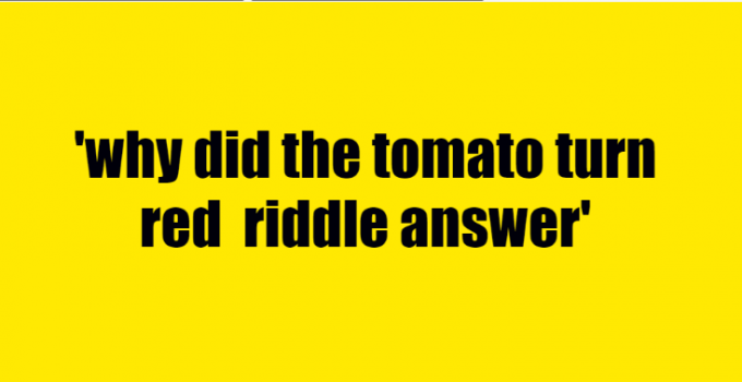 why did the tomato turn red riddle answer