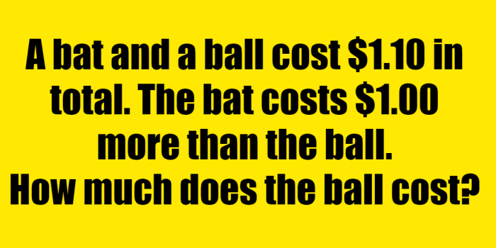 If The Cost Of A Bat And Ball 1.10 Riddle Answer