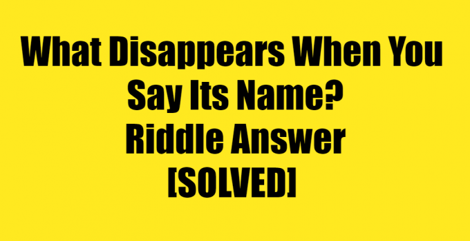 What Disappears When You Say Its Name Riddle Answer