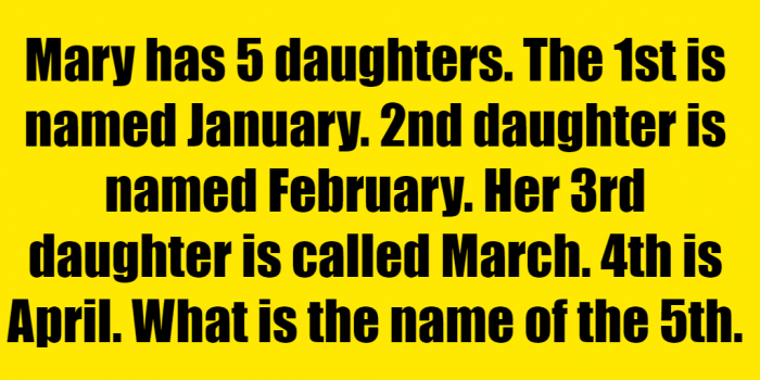 #mary has 5 daughters riddle January answer #mary has 5 daughters riddle #mary has 5 daughters January #mary has five daughters riddle #mary has 5 children named January #mary has 5 daughters riddle answer #mary's father has 5 daughters riddle #mary's father has 5 daughters riddle answer #if mary has 5 daughters #mary's dad has 5 daughters riddle #mary's father has five daughters riddle